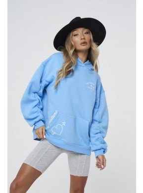 WITH LOVE RUCHED PUFF SLEEVE HOODIE