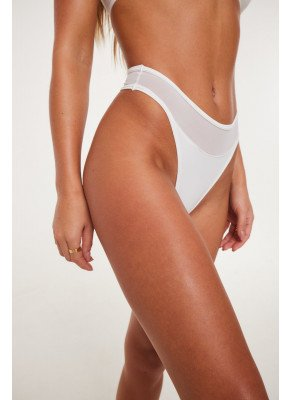 MESH PANELLED HIGH LEG WHITE THONG