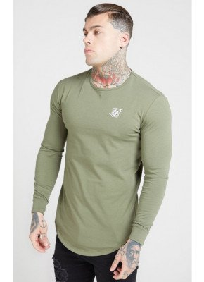 SikSilk L/S Core Gym Tee – Khaki