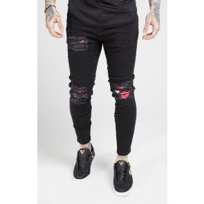 SikSilk Skinny Oil Patch Denims – Black
