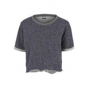 Póló Urban Classics Melange Cropped Short Sleeve Crew Navy Grey